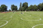 Heidelberger Neckarwiese: 170 aufgemalte Kreise bieten Orientierungshilfe beim Abstandhalten